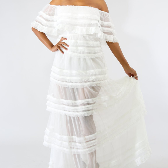 d854f25a44 White Strapless Tulle Sheer Summer Maxi Dress